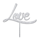 Love Acrylic Cake Topper - Silver Glitter