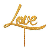 Love Acrylic Cake Topper - Gold Glitter