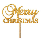 Merry Christmas Acrylic Cake Topper - Gold  Mirror