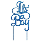 It's A Boy Acrylic Cake Topper - Blue Glitter