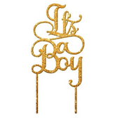 It's A Boy Acrylic Cake Topper - Gold Glitter