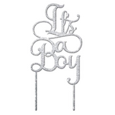 It's A Boy Acrylic Cake Topper - Silver Glitter