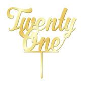 NUMBER TWENTY ONE GOLD MIRROR ACRYLIC CAKE TOPPER