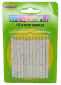 12 GLITTER CANDLES - WHITE
