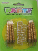 12 CANDLES IN HOLDERS WITH CAKE DECORATION - GOLD