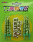 12 CANDLES IN HOLDERS WITH CAKE DECORATION - LIME GREEN