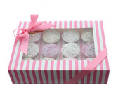 Cupcake Box  Pink and White Stripe with PVC Window (holds 12 cupcakes)