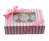 Cupcake Box  Pink and White Stripe with PVC Window (holds 6 cupcakes)