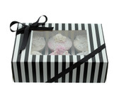 Cupcake Box  Black and White Stripe with PVC Window (holds 6 cupcakes)