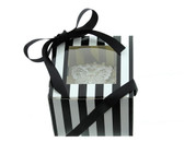 Cupcake Box  Black and White Stripe with PVC Window (holds 1 cupcake)