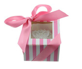 Cupcake Box  Pink and White Stripe with PVC Window (holds 1 cupcake)