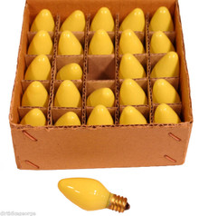 BOX OF 25 NIGHT LIGHT CANDLE LAMP BULBS -5 watt, C7, -OPAQUE YELLOW