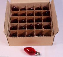 Red Twinkle Blinking Light Bulbs - C-7 ,Candelabra Base, 7 Watt - Box of 25