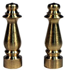 "Solid Brass Lamp Shade Finial ELY1465 -1.5"" Tall, Brass Plated, Pack of 2"