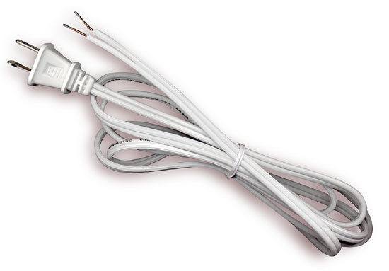Awesome 6 Foot White Lamp Cord With Polarized End Plug Stripped Tips Ready Wiring 101 Taclepimsautoservicenl