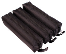 Creative Hobbies® Black Nylon Zippered Pencil, Pen, Cosmetic Storage Case, 7.5 x 2 x 2 Inch, Pack of 3 Cases