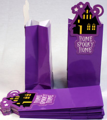 "12 Pack of Glossy Paper Treat Goody Bags, 6.5""x3"",Halloween Purple Haunted House"