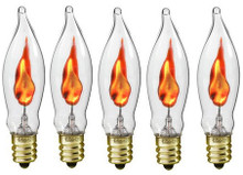Creative Hobbies® A101 Flicker Flame Light Bulb -3 Watt, Flame Shaped, Nickel Plated Base,- Dances with a Flickering Orange Glow - Box of 5 Bulbs