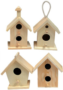 Creative Hobbies® Mini 4 Inch Tall Birdhouse, Set of 4 Styles, Unfinished Wood Ready to Paint or Decorate