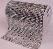 "Creative Hobbies® Bling! Silver Diamond Rhinestone Mesh Ribbon, Wedding Ribbon, Diaper Cake Ribbon, 6"" x 3 Yards, 31 Row, 1 Roll"
