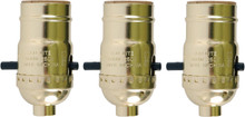 Push Thru Lamp Sockets, Standard Edison Base, Bright Brass Color, Pack of 3