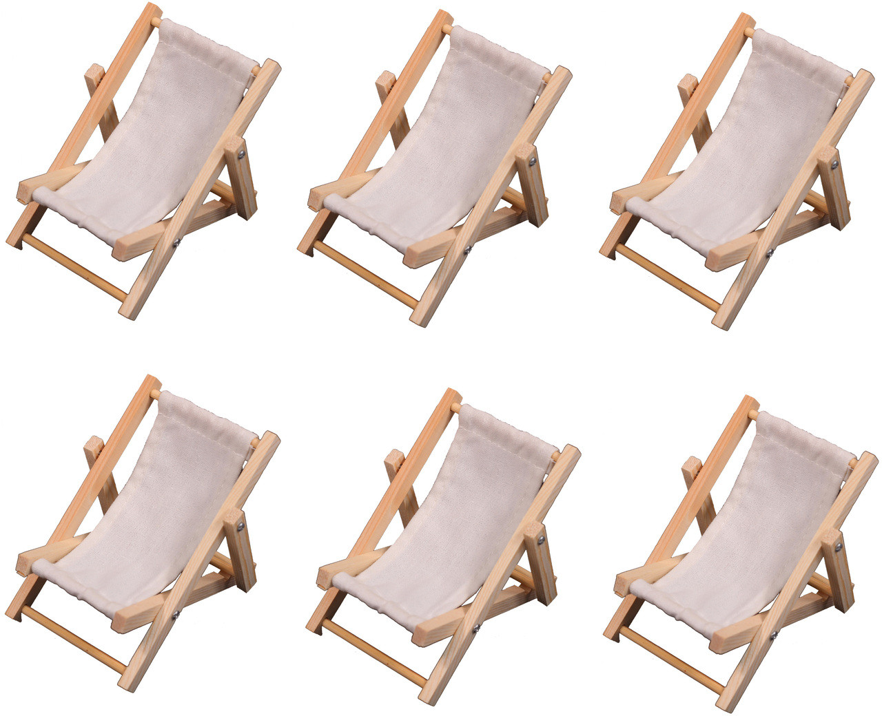 6 Mini Beach Lounge Chairs Folding Sling Style Wood With White Fabric For Wedding Favors Cake Toppers Table Markers Dollhouses Fairy Gardens
