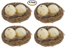 Realistic 3 Inch Natural Twig Bird Nest With Eggs and Feathers - Pack of 4 - Great for Wedding Favors, Party Favors, Florals or Baby Showers