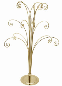 Creative Hobbies 20 Inch Tall Ornament Display Tree, Bright Brass Plated, Holds 15 Ornaments