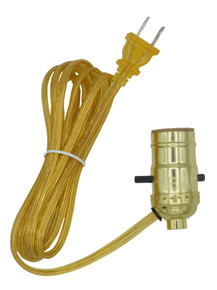 Creative Hobbies M995G Instant Lamp Kit, Gold Push Thru Lamp Socket is Pre-Wired with 6 Foot Gold Lamp Cord with Polarized End Plug