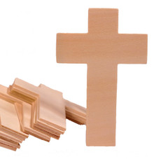 Creative Hobbies 4.25 Inch High Unfinished Wooden Cross Shapes, Pack of 25, Ready to Paint or Decorate