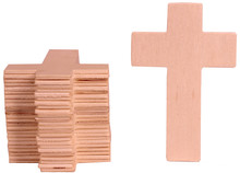 100 Pack Unfinished Wood Cross Shape Cutout Slices, 4.25 x 2.75 Inch for Wooden Craft DIY Projects, Sunday School, Church, Home Decoration