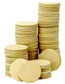100 Pack of 1.5 Inch Round Wood Cutout Circles Chips for Arts & Crafts Projects, Board Game Pieces, Wooden Nickels, Ornaments and DIY Crafts