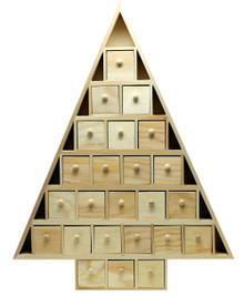 20 Inch Tall Christmas Tree Shaped Advent Calendar - Pre Assembled with 24 Removable, Drawers - Unfinished Wood Ready to Decorate and Personalize - for DIY, Gifts & Crafts