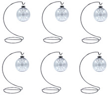 Creative Hobbies - 6 Sets - Silver Ornament Display Stand & 67mm Clear Plastic Ornament Ball - Great for Crafting, DIY Christmas Ornaments