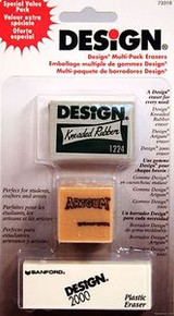 Sanford DESIGN 3 Piece Eraser Set for Art, Drawing, Drafting, School Supplies
