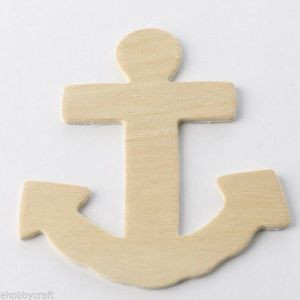 Package Of 24 Unfinished Wood Anchor Cutouts For Painting And Crafting