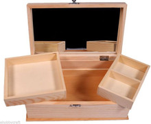 Wood Jewelry Box Clasp Close w/ Mirror & Removable Trays - Ready to Decorate!