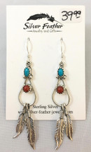 Sterling Silver, Turquoise and Red Coral Feather Earrings- 3432