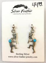 Small Silver & Turquoise Kokopelli Earrings- 3436