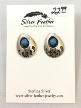 Sterling Silver & Turquoise Bear Claw Shadow-Box Earrings- 3443