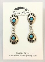 Double Sterling Silver & Turquoise Bear Claw Shadow-Box Earrings- 3444