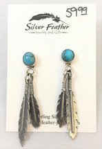Sterling Silver & Turquoise Double Feather Earrings- 3448
