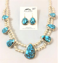 Kingman Turquoise and Silver Necklace & Earring Set- 3454
