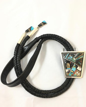 Sterling Silver and Celestial Inlay Bolo Tie-3370