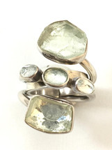 Lilly Barrack Green Amethyst and Silver Ring- 3459