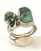 Emerald Silver and Green Quartz Ring- 3460