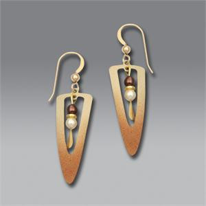 Shaded Bronze Open Long Dagger Earrings with Accent Beads