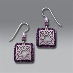 Etched Amethyst Frame Earrings with Pale Lavender Filigree Overlay