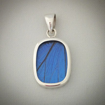 Sterling Silver and Blue Morpho Butterfly Wing Pendant