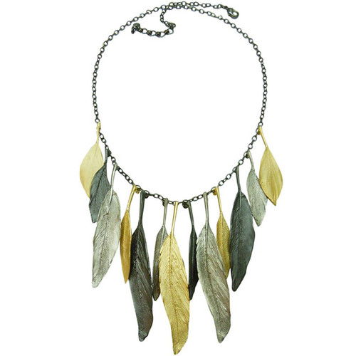 "Tri-tone 18"" adjustable feather necklace"